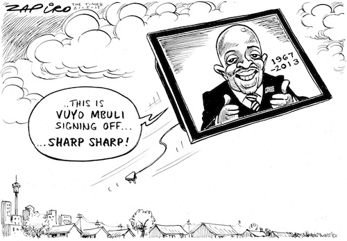 Vuyo Mbuli cartoon © 2012 Zapiro (All Rights Reserved)  Used with permission from www.zapiro.com