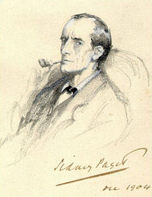 Pencil sketch by Sidney Paget depicting Sherlock Holmes