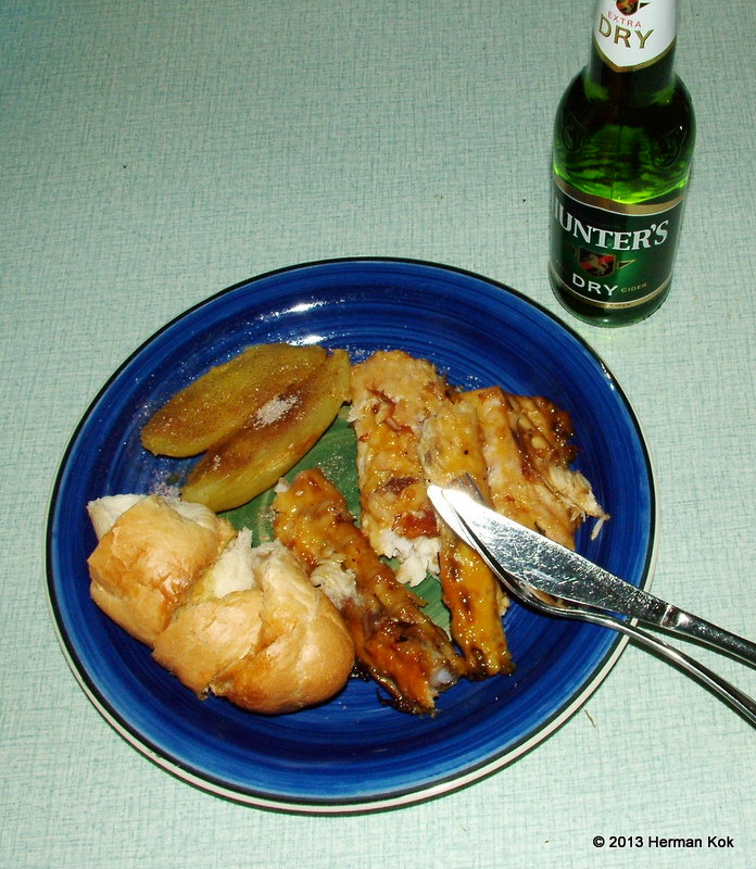 Snoek, garlic bread and sweet potatoes