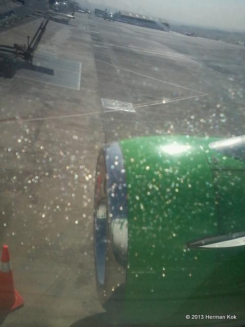 Jet engine through aircraft window