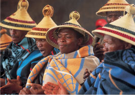 Basotho in traditional clothing