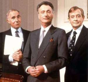 Yes Minister cast, Nigel Hawthorne, Paul Eddington, Derek Fowlds