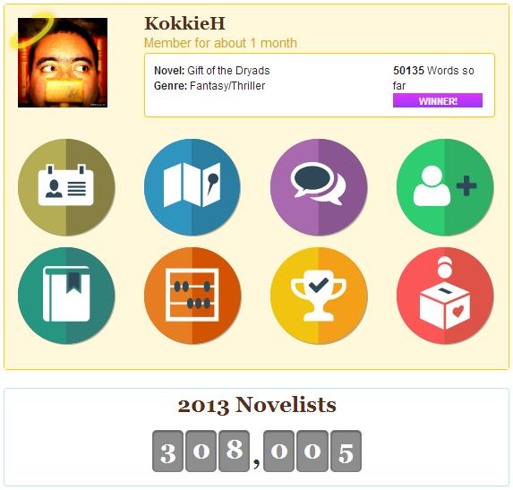 NaNoWriMo 2013 home page KokkieH