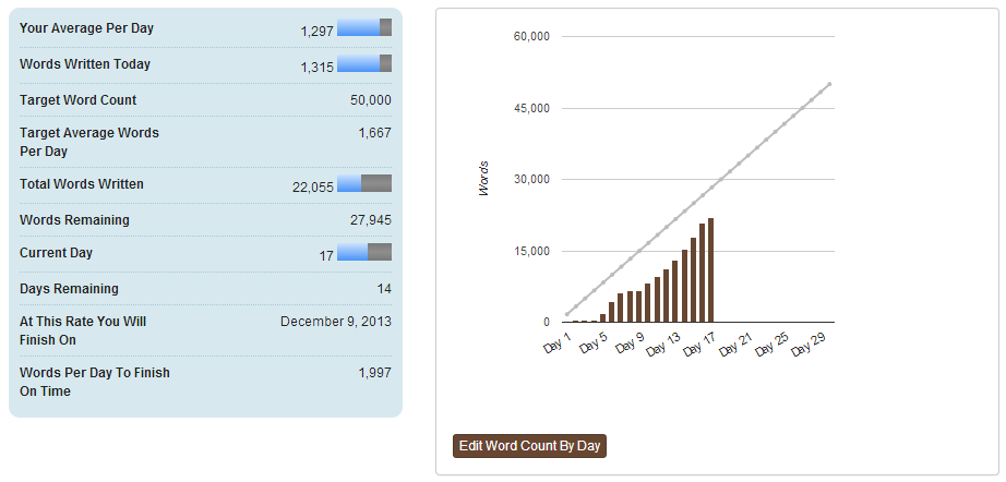 NaNoWriMo stats Day 17