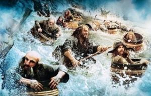 The Hobbit Dwarfs in barrels