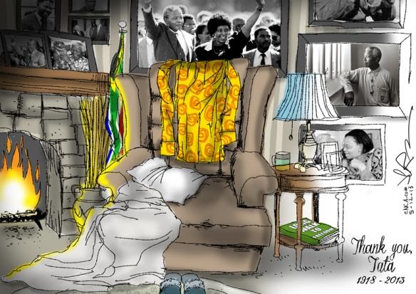 Cartoon by Jerm on Nelson Mandela's death