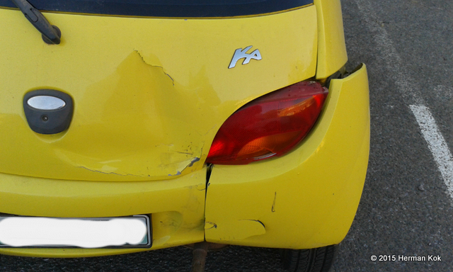 Yellow Ford Ka after accident