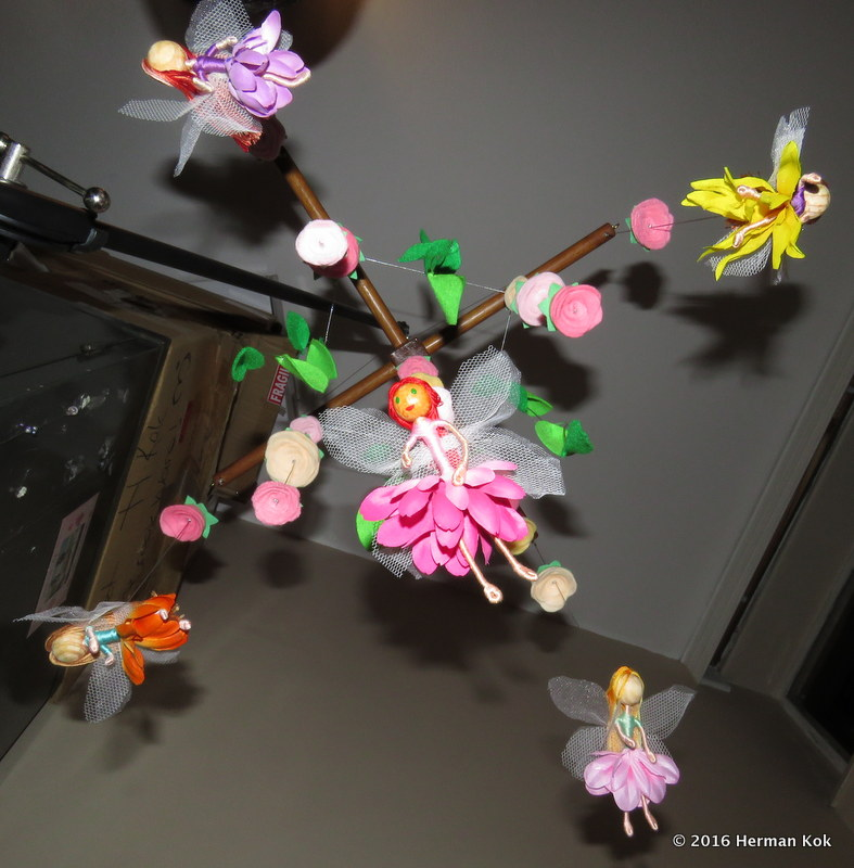 Mobile with fairies and roses